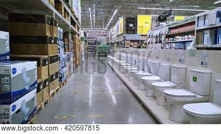 St. Petersburg, Russia - May 15, 2021: Department Of Plumbing, Products For Bath And Toilet In Top E