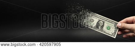 Inflation, Dollar Hyperinflation. Banner With Black Background. One Dollar Bill Is Sprayed In The Ha