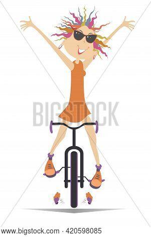 Cartoon Cyclist Woman Rides A Bike Illustration. Happy Cyclist Young Woman In Sunglasses Rides A Bik