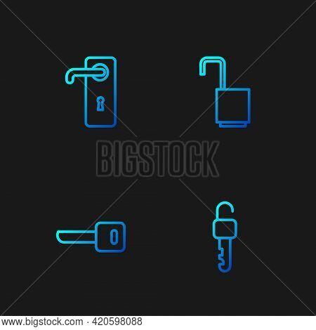 Set Line Unlocked Key, Key, Door Handle And Open Padlock. Gradient Color Icons. Vector