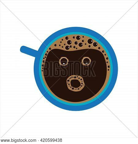 Vector Illustration Coffee Cup With Wow Face