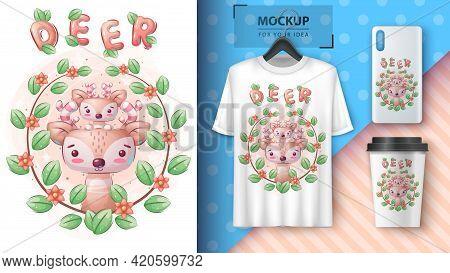 Cute Deer Family Poster And Merchandising. Vector Eps 10