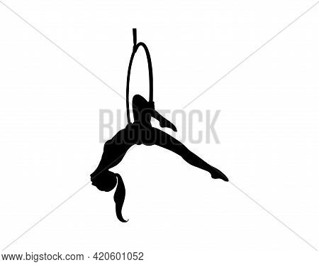 Silhouette Of The Girl Hanging In The Aerial Hoop. Aerial Gymnastics Dancer. Vector Illustration Iso