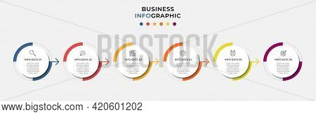 Vector Infographic Circle Label Design Business Template With Icons And 6 Options Or Steps. Can Be U