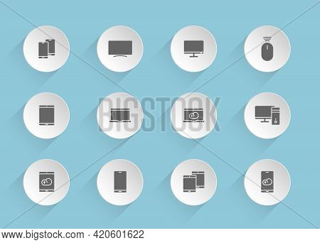 Smart Devices Vector Icons On Round Puffy Paper Circles With Transparent Shadows On Blue Background.