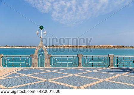 Empty Abu Dhabi Corniche In The Morning. Ideal Place To Run And Walk.