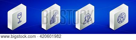 Set Isometric Line Wine Glass, Broken Ancient Column, Cyclops And Ancient Greek Coin Icon. Vector