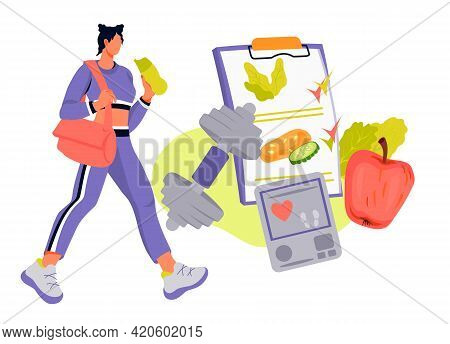 Sport Activity And Diet Plan Concept With Sportive Woman Going To Training, Flat Vector Illustration