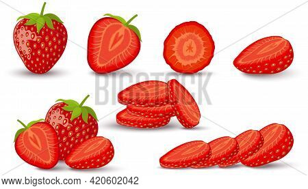 Set Of Strawberry. Whole, Slice, Half Of A Strawberry Isolated On White Background. Vector Icon.