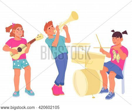 Children Playing Musical Instruments - School Orchestra Concert Performance Or Music Class, Flat Vec