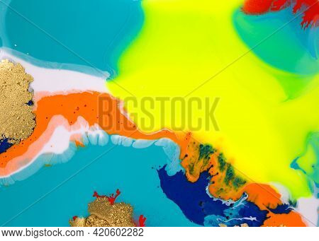 Abstract Bright Marble Pattern With Golden Glitter. Fluorescent Artwork Liquid Paint Background.