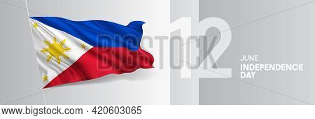 Philippines Happy Independence Day Greeting Card, Banner Vector Illustration