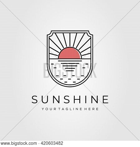 Beautiful Sunset Minimalist Line Art Badge Logo Template Vector Illustration Design. Simple Outline