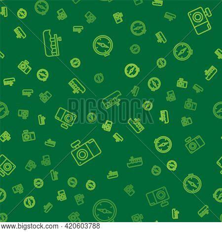 Set Line Beach Pier Dock, Photo Camera And Compass On Seamless Pattern. Vector