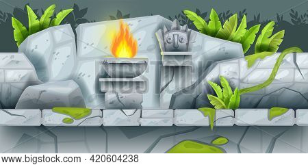 Jungle Game Seamless Vector Landscape, Maya Aztec Ancient Temple Ruin Background, Fire, Banana Leaf.