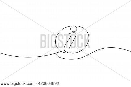 Information Symbol One Continuous Line Art. One Line Tourism Assistance Service Desk Inform Design.