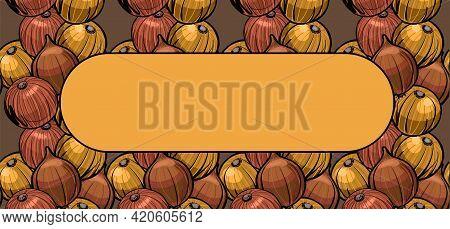 Onion Plant Is Yellow. Horizontal Banner, Screen Saver Design Of The Gardener Gardener.