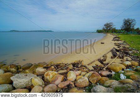 Plastic Garbage, Foam, Wood And Dirty Waste On Beach In Menumbok Beach,sabah Borneo,malaysia. Garbag