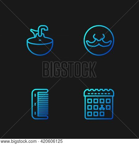 Set Line Calendar With Haircut Day, Hairbrush, Washbasin And Mustache. Gradient Color Icons. Vector