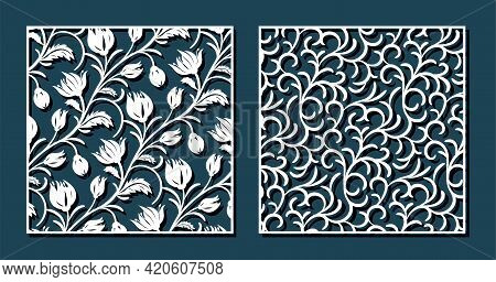 Flower Tulip And Curl Patterns For Laser Cutting. Universal Greeting Card, Laser Cut Panel. Vector I