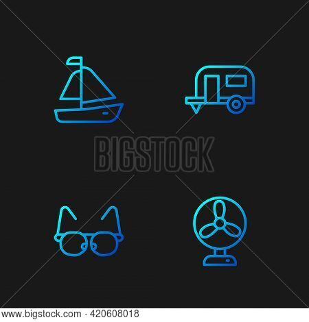 Set Line Electric Fan, Glasses, Yacht Sailboat And Rv Camping Trailer. Gradient Color Icons. Vector