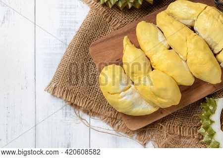 Top View Of Chani Kai Durian Or Durio Zibthinus Murray On Wood Plate, Chani Kai Durian Have A Soft T