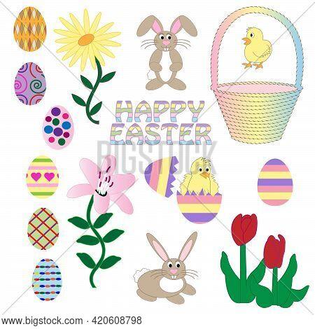 Set Of Easter Design Elements, Vectors. Eggs, Chicks, Bunny Rabbit, Flowers, Tulips, Lily, Eggshell,