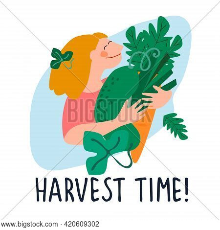 Happy Woman Holding Giant Cucumber, Carrot, Leek. Harvest Time Quote. Harvesting, Fresh Vegetables C