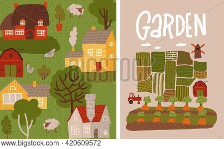 Garden, Agriculture Banners Set. Gardening And Farming Poster Concept With Lettering Text. Vegetable