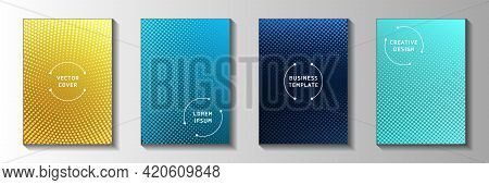 Minimalist Dot Perforated Halftone Cover Page Templates Vector Set. School Brochure Faded Halftone
