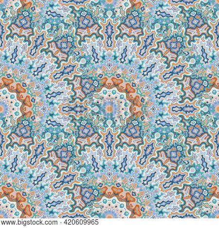 Fractal Flower Seamless Ornament. Turkish Folk Vector Composition. Ornate Lollapalooza Mandala Flora