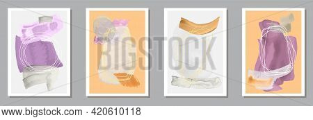 Hand Painted Grunge Canvas Vector Set. Watercolor