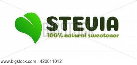 Stevia Leaf Symbol Natural Sweetener Substitute Isolated On White Background. Organic Stevia For Lab