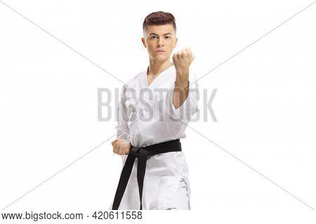 Guy practicing karate isolated on white background