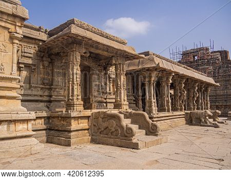 Inside Of The Majestic Krishna Temple Located In Hampi, Karnataka, India