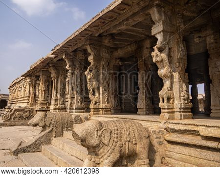 Inside View Of The Majestic Krishna Temple With Beautiful Stone Carvings Located In Hampi, Karnataka
