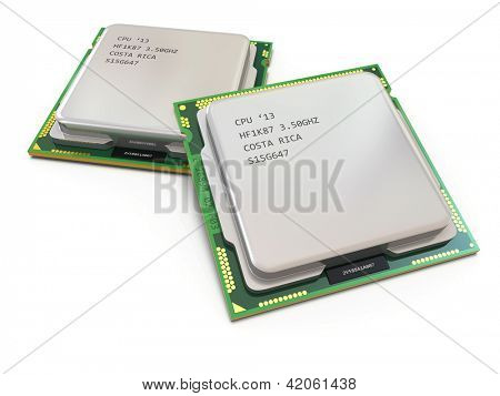 CPU. Computer's processors on white isolated background .3d