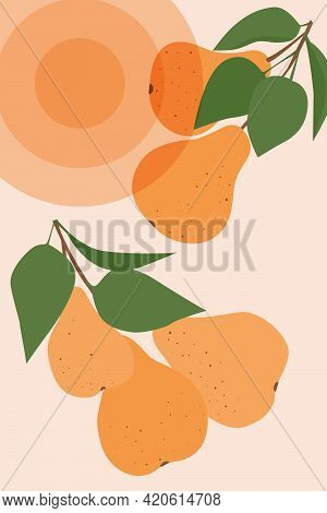 A Minimalistic Image Of A Pear Tree. Abstract Fruit Illustration For A Poster, Banner, Signboard Or
