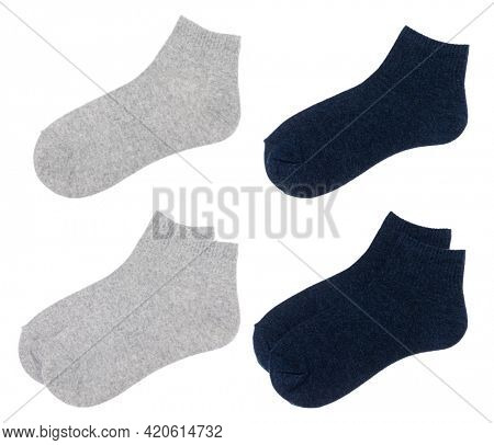 Gray and blue flat cotton-blend low cut ankle socks isolated on a white background