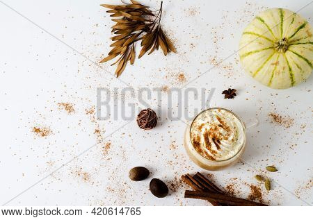 A Cup Of Coffee Latte With Whipped Cream View From Top. The Concept Of A Warm Autumn Pumpkin Latte O