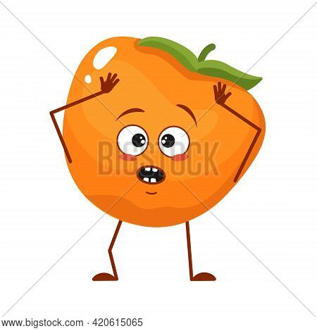 Cute Persimmon Character With Emotions In A Panic Grabs His Head, Face, Arms And Legs. The Funny Or