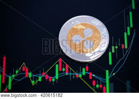 Ripple Coin Xrp Cryptocurrency Golden And Silver Symbol And Stock Chart Candlestick On Tablets. Use