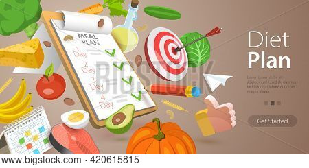 3d Vector Conceptual Illustration Of Diet Plan, Healthy Nutrition Program, Good Eating Habits