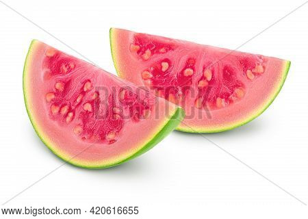 Guava Fruit Slices Isolated On White Background With Clipping Path And Full Depth Of Field