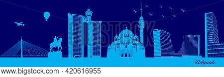 Vector City Skyline Silhouette - Illustration,  Town In Blue Background,  Belgrade Serbia