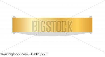 Stitch Thread 3d. Gold Sew Seam, Isolated White Background. Bright Golden Ribbon Stripe. Embroidery