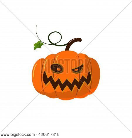 Halloween Pumpkin Icon 3d. Autumn Symbol. Cartoon Horror Design. Halloween Scary Pumpkin Face, Smile