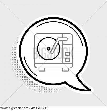 Line Vinyl Player With A Vinyl Disk Icon Isolated On Grey Background. Colorful Outline Concept. Vect