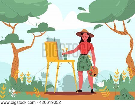 Creative Artist Background With Painter And Landscape Symbols Flat Vector Illustration