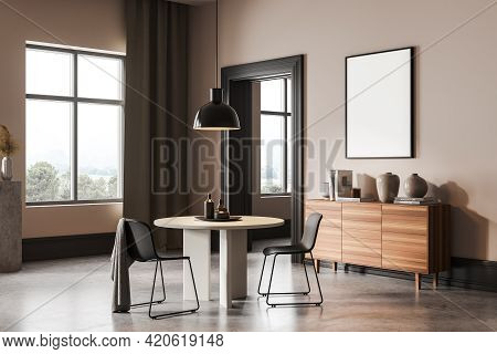 Beige Living Room With Two Chairs And White Round Table, Art Room With Commode On Concrete Floor. Bl